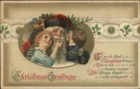 Christmas - Santa Claus & Sweet Happy Children c1910 John Winsch Postcard