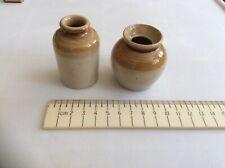 Two Miniature  Victorian Salt Glazed Brown Stoneware Pots  Jars