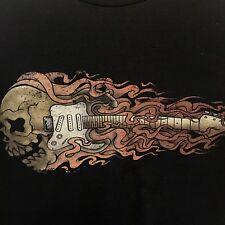 No Boundaries Black T Shirt with Guitar and Skull with Flowing Hair Mens XL