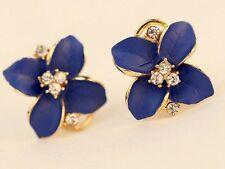 Gold Enamel Exquisite Blue Gardenia Flower Crystal Stud Hoop Earrings Box P14