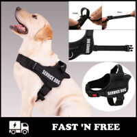 Reflective Service Vest Dog Harness Adjustable Patch Small Large Medium No Pull
