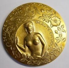 "HUGE 3 7/8"" EUROPEAN  GOLDEN TONE BRONZE MEDAL/ NUDE GIRL WITH FLOWERS / PEACOCK"