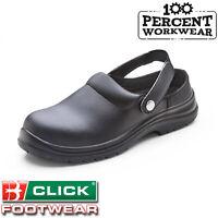Nurses Medical Food Hygiene Black Safety Slip On Work Clogs Shoes Slippers SRC