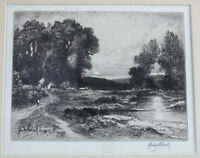 John Fullwood (English 1854-1931) Etching English Road and River Signed