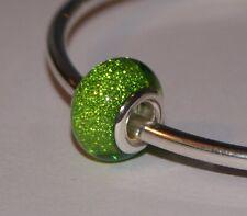 LIGHT APPLE GREEN GLITTER SPARKLY BEAD Silver European Charm for Bracelet