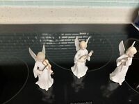 3 Lefton Japan Fine Porcelain Christmas Angels Playing Musical Instruments