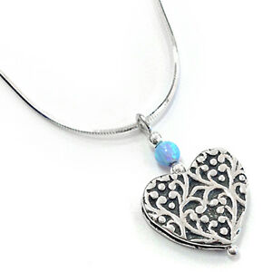 Aviv Iridescent Blue Opal Bead and Sterling Silver Heart Pendant + Free Chain