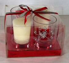 Candle Silver Hearts Votive Candle & Holder set  2 Holders Red Boxed Ribbon Love