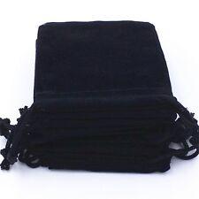 100 Black Velvet Drawstring Gift Jewellery Pouches 9cm x 7cm Aussie Stock