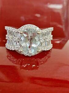 18K White Gold Natural 5.44CT OvalAquamarine Baguette VVS F Diamond Ring 9.5Gr.7