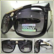 Men's CLASSIC RETRO HIP HOP RAPPER Style SUN GLASSES Unique Black & Gold Frame