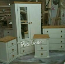 HANDMADE WHITE PINE 3 PIECE BEDROOM SET WARDROBE CHEST DRAWERS BEDSIDE ASSEMBLED