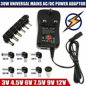 30W Universal AC/DC Power Supply Adaptor Plug Charger 3V 4.5V 6V 7.5V 9V 12V UK