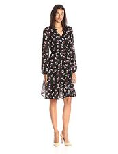 New Lark & Ro Women's Printed Woven Wrap Dress Tossed Floral Design Size Small