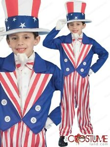 Boys Uncle Sam Costume Kids Fancy American Dress Up Halloween Child Party Outfit