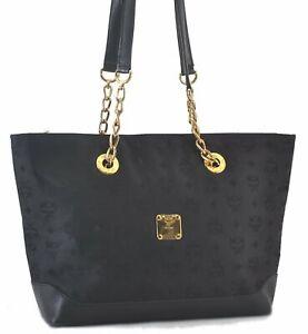 Authentic MCM Nylon Leather Vintage Chain Shoulder Tote Bag Black C2934