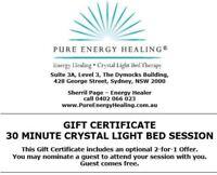 30 Minute Crystal Light Bed Session GIFT CERTIFICATE INCLUDES BONUS 2FOR1 OFFER
