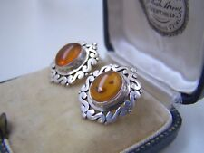 GORGEOUS VINTAGE SOLID STERLING SILVER NATURAL HONEY AMBER STUD EARRINGS STUDS