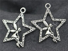 5/20/100pcs Antique Silver/Bronze Lovely Star girls Charms Pendant 28x25mm