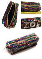 Large Colourful Rainbow Reversible Sequin Pencil Case School Make Up Bag Pouch
