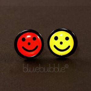 FUNKY BOYS MENS SINGLE SMILEY FACE EARRING FUN COOL ACID RAVE RETRO 80s NOVELTY