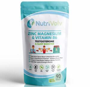 Zinc Magnesium & Vitamin B6 ZMA 90 Capsules Sleep Muscle Energy Testosterone