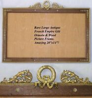 """HUGE Antique French Empire 20"""" Picture Frame, Gilt Ormolu, Wood Mat, Bow, Wreath"""