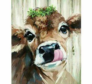 Bull Calf Diamond Painting Design Cute Animal Embroidery Portrait House Displays