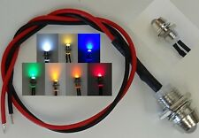 LED 7 Farben 5mm Chrom Metall Fassung Schraube  9V - 12V Anschlußfertig C2691