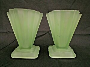 """Pair of Bagley 334 Art Deco 4"""" Frosted Green Glass Grantham Vases England"""