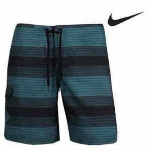Nike swim board short 30/32  jade green black stripe beach swim or skate bnwt