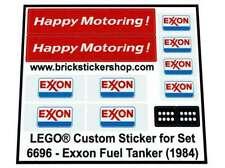 Precut Custom Replacement Stickers voor Lego Set 6696 - Exxon Fuel Tanker (1984)