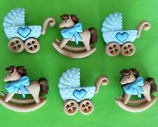 Baby Boy HORSE & BUGGY - Pram Pushchair Rocking Blue Dress It Up Craft Buttons