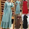 ZANZEA Womens Long Sleeve Polka Dot Casual Loose Abaya Muslim Kaftan Maxi Dress
