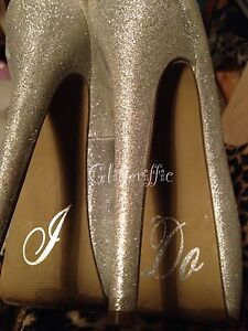 Brides Wedding Shoe Silver Glitter Vinyl Decal Sticker Transfer I Do