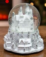 Large Musical Snowy White Village Snow Globe Plays We Wish You a Merry Christmas