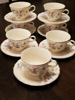 EDWIN M KNOWLES USA 7 CUPS &7 SAUCERS SEMI VITREOUS CHINA 48-3 FLORAL GOLD TRIM
