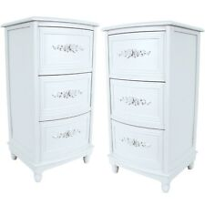 PAIR/SHABBY CHIC WHITE CHEST OF 3 DRAWERS CABINETS BEDSIDE/SIDE/LAMP TABLES