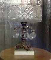 "Vintage Crystal & Brass Compote. Marble Base. 11"" Tall."