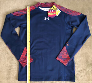 NWT Under Armour Youth Boy's YXL Infrared Mock Top Shirt Navy Red 1249127 New