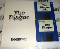 """Commodore Amiga THE PLAGUE 1989 3.5"""" 2 Game Disk + instruction manual Innerprise"""