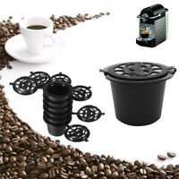6PCS Reusable Nespresso Coffee Capsules Cup With Spoon Brush Black Refillable Co