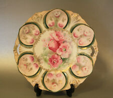 """RS Prussia cake plate, Mold 78, 11"""", pink poppies, Wreath & Star logo, 1905-1910"""