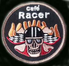 SKULL BONES CAFE RACER OVAL 3 INCH EMBROIDERED BIKER PATCH
