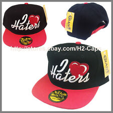 I LOVE HEART HATERS Snapback hat cap BLACK HAT WITH RED VISOR BRIM