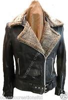Ladies Black Biker Style Retro Real Lambskin Leather Sheepskin Jacket (8 - 20)