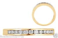 Channel Set Round Brilliant Cut Diamond Half Eternity Ring in 9K Yellow Gold