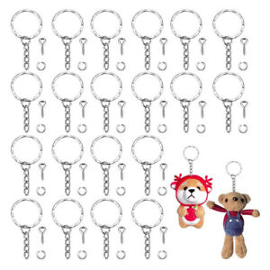 50x Ring Key Chains Kits Keyring With Eye Screw DIY Accessories Jewelry Making T