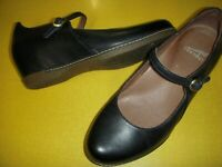 Dansko Loralie Leather Wedge Heel Mary Janes Women's Shoes 36 Navy US 5.5-6