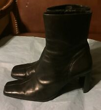 JONES NEW YORK BLACK LEATHER WOMEN'S BOOTS SIZE 9 M MID-CALF